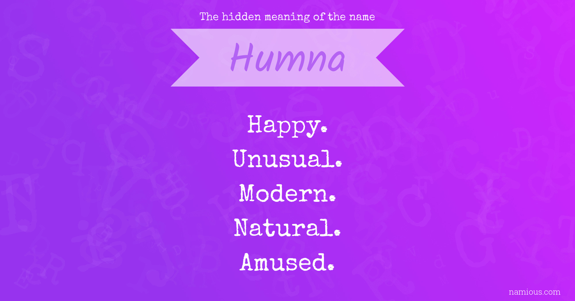 The hidden meaning of the name Humna | Namious