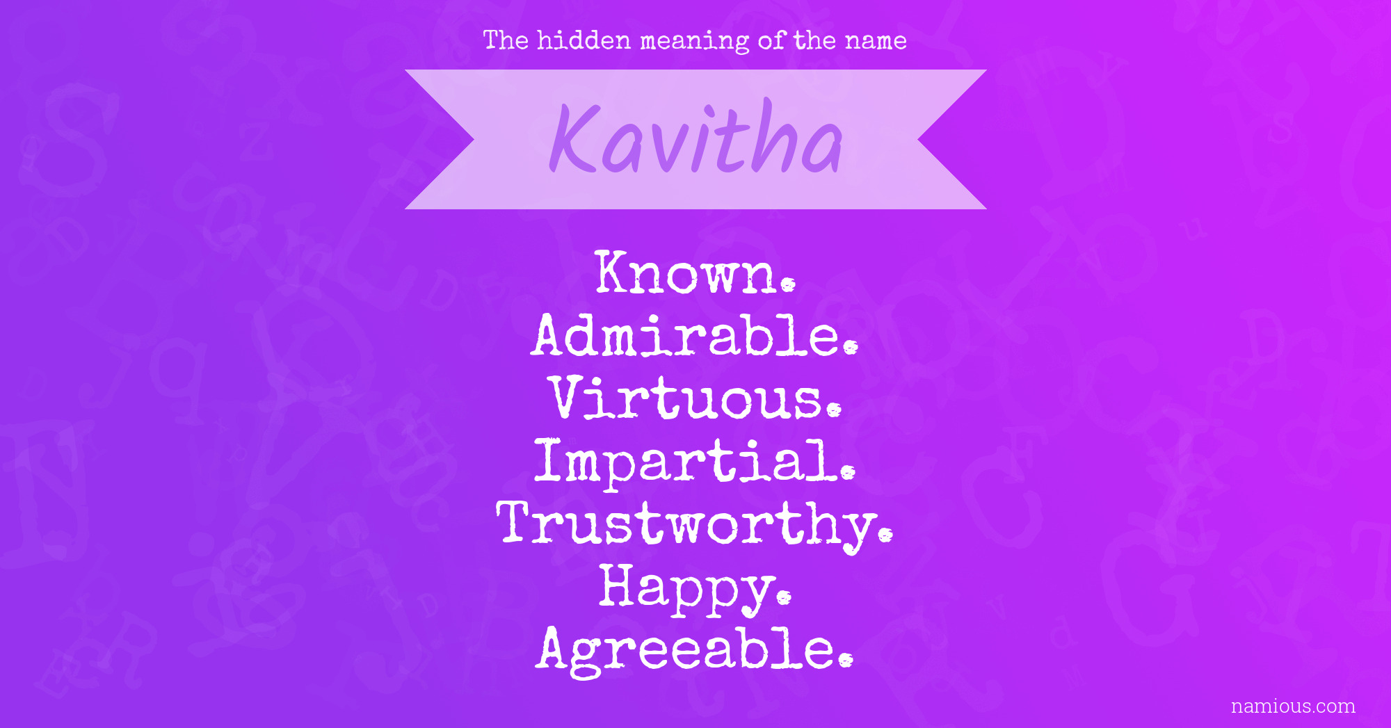 The hidden meaning of the name Kavitha | Namious