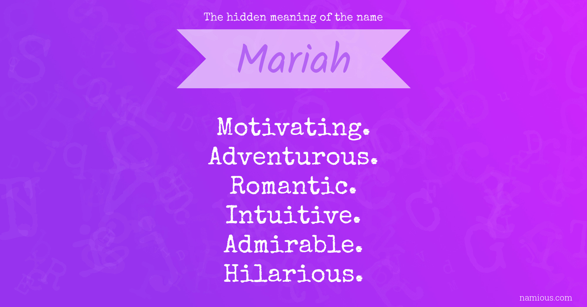 The hidden meaning of the name Mariah   Namious