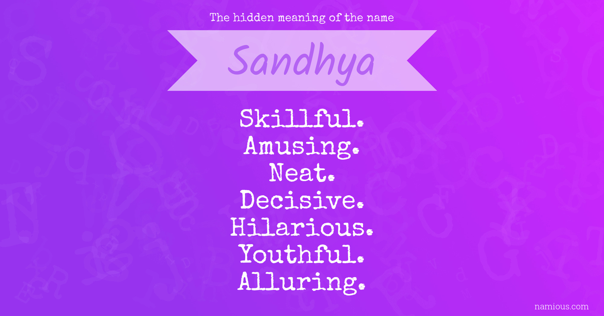 The hidden meaning of the name Sandhya | Namious
