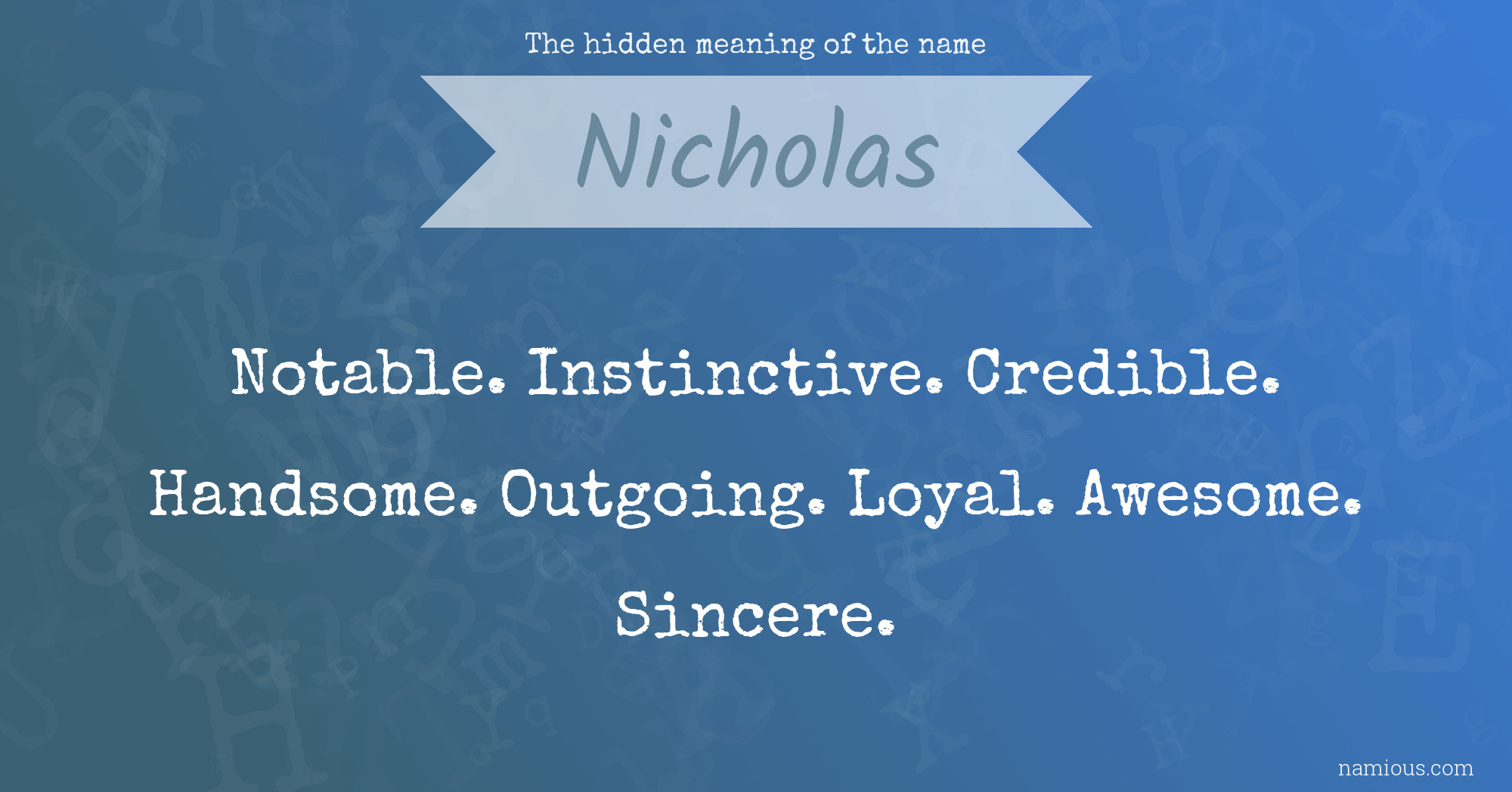 The hidden meaning of the name Nicholas